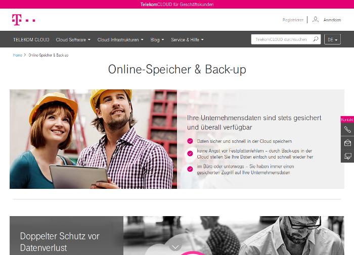 Screenshot der Telekom Cloud-Informationsseite