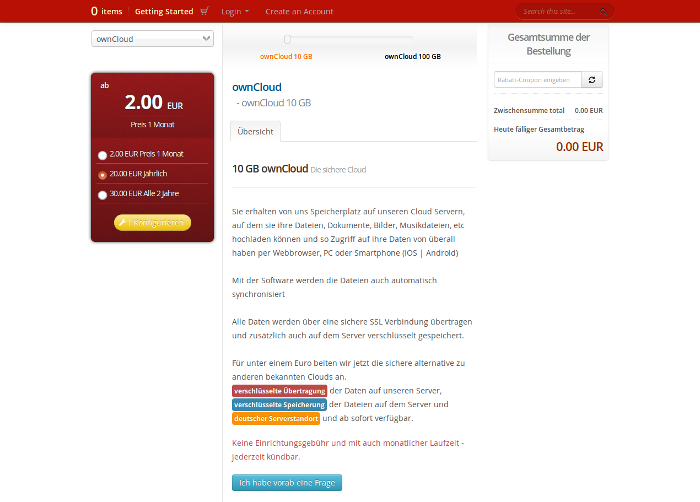 Screenshot von GigaWebHost Cloud-Hosting