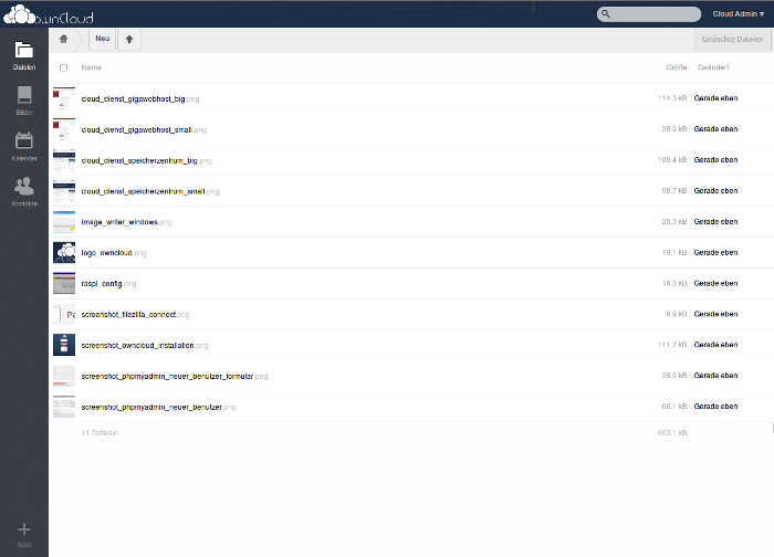 Screenshot vom Owncloud-Webinterface